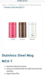 Tiger stainless steel bottle with tea infuser in WHITE