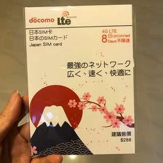 日本8日 4G 數據卡(不降speed )