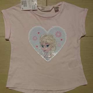 New In Tag H&M Disney Frozen Reversible Sequin Girl Tshirt 4-6Y