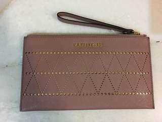 Original Brand New Michael Kors Long Leather Zip Wristlet / Clutch - Dusty Rose & Gold