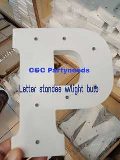 Letter standee with led bulbs