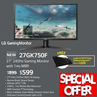 "LG 27"" 27GK750F   240Hz Gaming Monitor. ( Offer Till...15 Aug 2018..Ends )"
