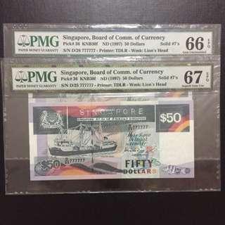 Running prefix solid 7 $50 Singapore ship series notes (PMG 66-67EPQ)