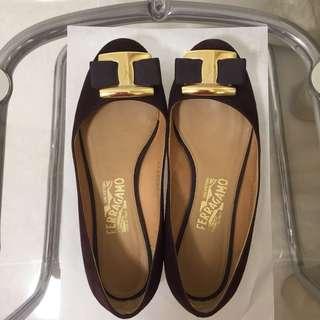 Ferragamo Shoes purple 深紫色 平底鞋 1cm