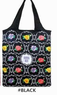 🚚 Anna sui 黑色紅色購物 收納袋 方便可放包包