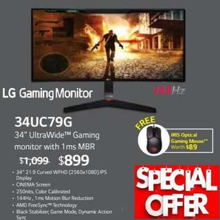 "LG 34"" 34UC79G  UltraWide™ Gaming monitor with 1ms MBR. ( Offer Till...15 Aug 2018..Ends )"
