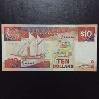 Solid 444444 Singapore $10 Ship Series Note (Gem UNC)