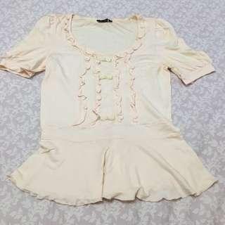 日本品牌 nice claup 粉紅色公主袖上衣
