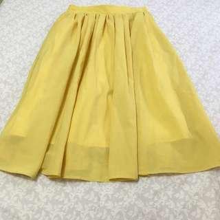日本品牌Rope Picnic 亮黃色即膝圓裙