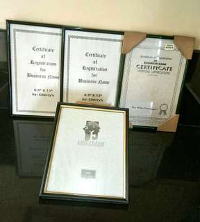 Frames for Certificates