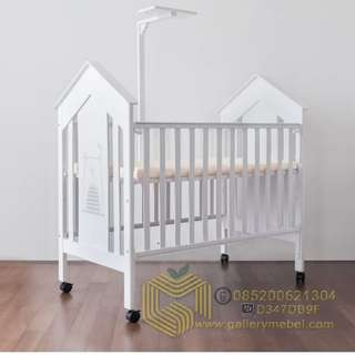 Box Bayi Minimalis dengan Tiang Kelambu, Baby Cribs, Ranjang Bayi, Tempat Tidur Bayi Murah