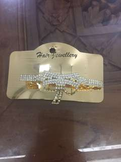 (BN) Promotion for this week-Silver White Stone Ladies Hair Clip