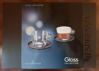 Nespresso Set Glass Collection A & P Cahen Design 2 Cappuccino Cups & Saucers