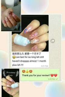 Picture Show before and after (1 month ++ old nail+half tips extension ; stud is still nice! ) _ half tips extensions & gel nail art_