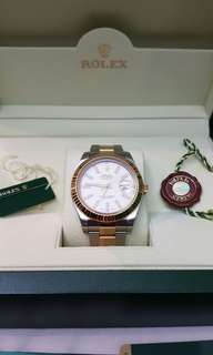 AUTHENTIC Rolex Date Just II Ivory Dial 116333 Two-Tone 41MM