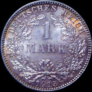 Silver German 1 Mark 1915