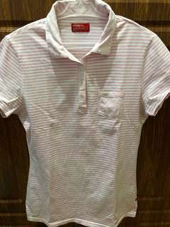 Preloved pink stripe polo shirt