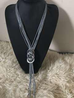 Long silver and grey necklace