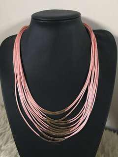 Pink and gold layer necklace