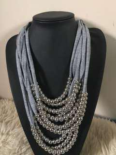 Grey and silver beeded necklace