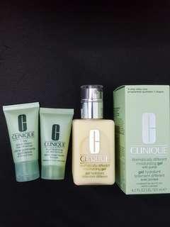 Clinique bundle set moisturizing gel 125ml, cleanser and scrub 30ml
