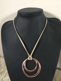 Leather rose gold necklace