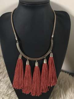Gold with burgundy tassels necklace