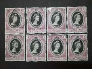 Malaya 1953 Coronation QE II - 8v Used Stamps #2