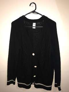 Black Buttoned Cardigan