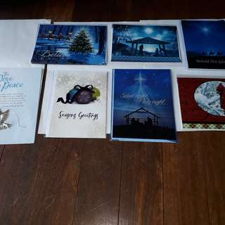 6 SEALED (individually sealed) Christmas Cards & 1 Peace & Joy Pendant
