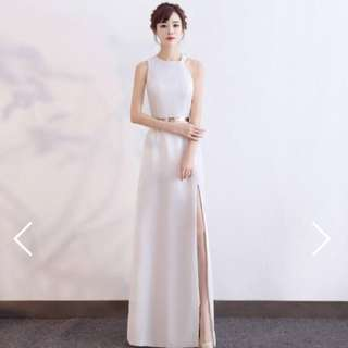 White Halter Gown with Slit