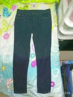 全新修腳深藍色原子牛仔褲中高腰28吋jeans