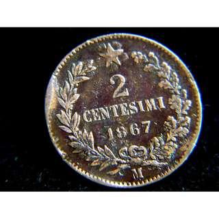 1867年意大利王國(Kingdom of Italy)星輝2仙銅幣(意皇埃曼奴爾二世像)