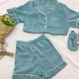 全新!!韓系少女成套水藍色睡衣