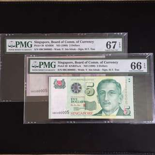 Matching super serial 5 HTT $2 & 5 notes (PMG66-67EPQ)