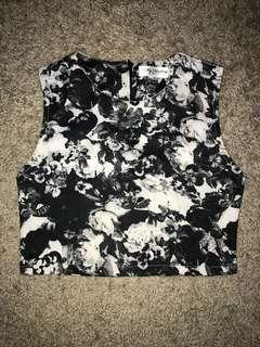 Monochrome floral crop top