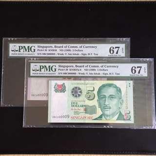 Matching super serial 9 HTT $2 & 5 notes (PMG67EPQ)