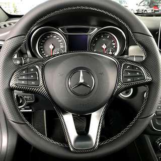 ABS Carbon Fiber Digital 3D Print Steering Wheel Decor Frame Cover Trim For Mercedes-Benz GLA/CLA/C/GLC/E