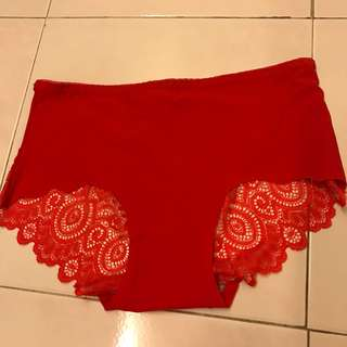 Preloved red sexy cotton lace panty