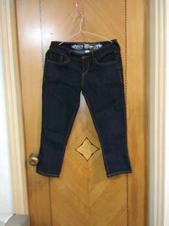 黑色深藍色女裝四個骨牛仔褲7分褲 Black dark blue woman's quarter length denim pants