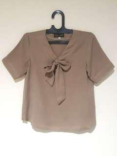 Brown Bow Tie Blouse