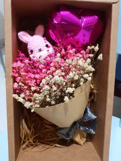 Crochet bunny baby breaths set