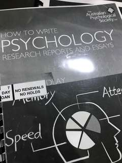 How to write psychology research reports and essays Australian psychological society Bruce Findlay psychology degree