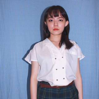 ETOFFER ✼純白雙排扣襯衫✼ 日本製 淨色襯衫 垂肩小荷葉袖 銀色金屬扣 夏季短袖上衣 Vintage古着