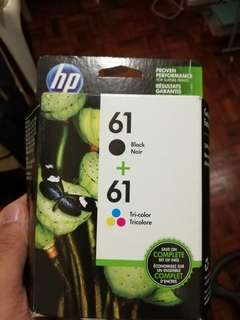 HP printer 61 black + tricolor ink cartridge 2 pack