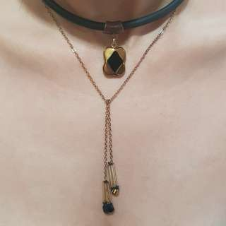 Kalung / choker hitam simple fashion