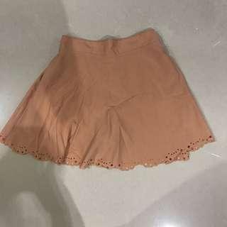 Laser cut nude skirt