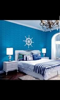Waterproof 3D brick wallpaper self adhesive(blue)