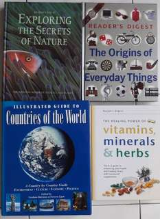 Reader's Digest Exploring Secrets, The Origins of Everyday Things, The Healing Power of Vitamins, Minerals and Herbs and Illustrated Guide to Countries of The World Books