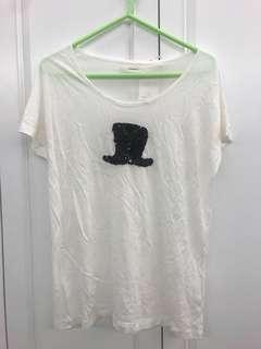 日牌 pinceau 白色綿質黑色閃閃珠片短袖衣衫tee $23.8 齊標吊牌 順豐到付 no face trade
